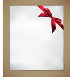 Paper Card with Red Bow vector image