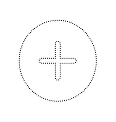 Positive symbol plus sign black dotted vector