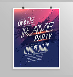 Rave party music flyer template vector