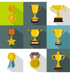 Rewarding icons set flat style vector