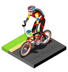 Road cycling cyclist working out 3d flat image vector