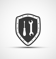 Shield icon with wrench and screwdriver vector