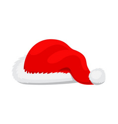 Single santa claus red hat realistic vector