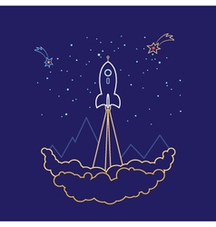 Space Rocket Line Style Design vector image vector image