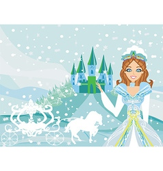 The beautiful princess is waiting for carriage vector image