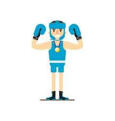 Young smiling boxer win gold medal vector