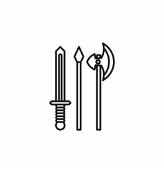 Medieval weapons icon outline style vector