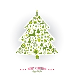 Christmas tree shape design merry card vector