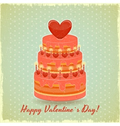 Valentines cake on vintage background vector