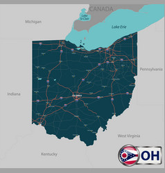 Map of state ohio usa vector