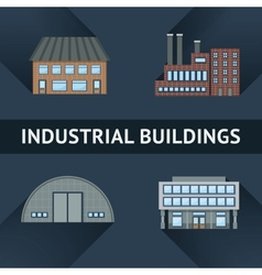 Industrial and business building icons vector