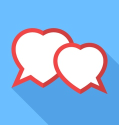 two hearts speesh bubble flat vector image