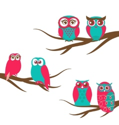 Backgrounds with couple of owls on the vector