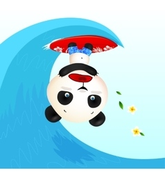 Little cute panic surfer panda in wave tube vector