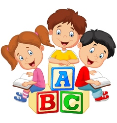 Children reading book vector