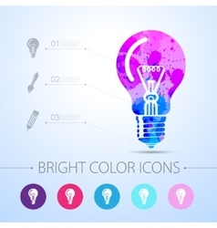 Lightbulb blue icon with infographic vector