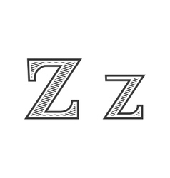 Font tattoo engraving letter z with shading vector