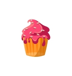 Cute cupcake with running icing vector