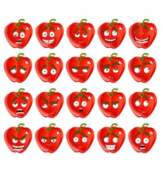 Cute cartoon red bulgarian pepper smile with many vector