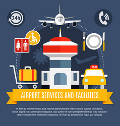 Airport services facilities flat poster vector