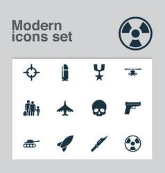 army icons set collection of panzer slug vector image vector image