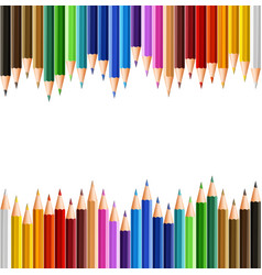 Background template with color pencils on top and vector
