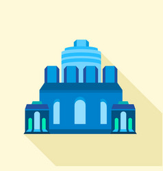 Blue ancient building icon flat style vector