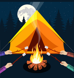 bonfire with marshmallow vector image