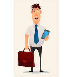 Business man cartoon character smiling vector