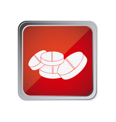 Button with pills with background red vector