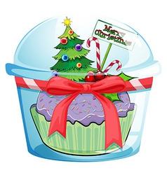 Christmas cupcake vector image