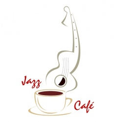 coffee cup and guitar music vector image vector image