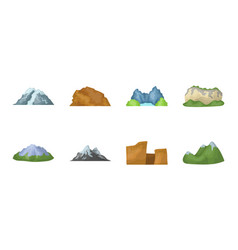 Different mountains icons in set collection for vector