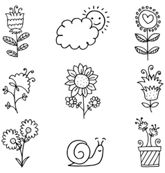 Doodle of spring flower set hand draw vector