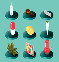 Drugs flat isometric icons vector