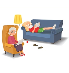 Elderly couple with gadgets vector