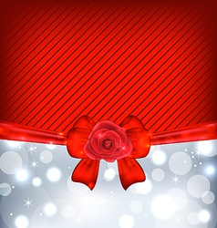 Festive background with gift bow and rose vector image