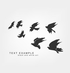 flying silhouettes of birds painted by hand vector image vector image