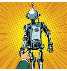 Follow me the robot leads us forward vector