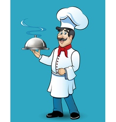 funny chef with food in his hand vector image