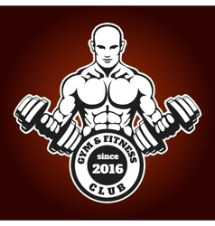 Gym and fitness emblem with training man vector