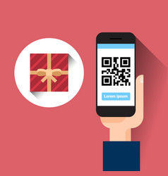 Hand hold smart phone scanning qr code with gift vector