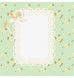 lace frame with ribbons on a floral background vector image vector image