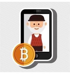 Man smartphone bit coin vector