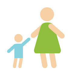 Mother baby silhouette happy family flat style and vector