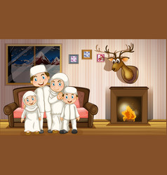Muslim family in living room with fireplace vector