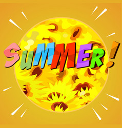 Painted abstract summer background with yellow vector