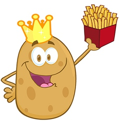Potato With Crown Holding Up A French Fries vector image vector image