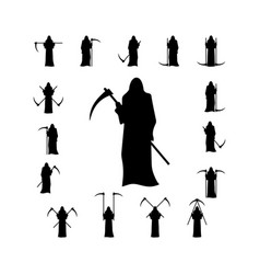 set death with a scythe silhouette vector image