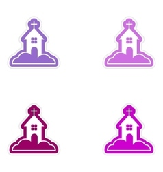 Set of paper stickers on white background church vector
